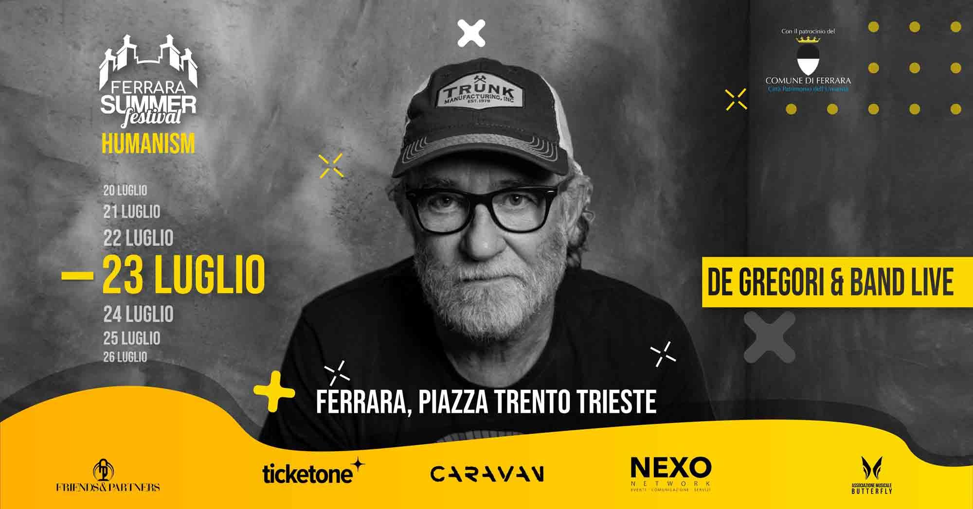 """""""DE GREGORI & BAND LIVE – THE GREATEST HITS"""" 23 Luglio 2021"""